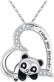 Panda Necklace Gifts for Women Girls Boys Heart Pendant Necklaces for Women Men Girls I Love You Forever Neckl