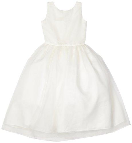 Us Angels Big Girls' Classic Organza Full Skirt Dress, Ivory, 12