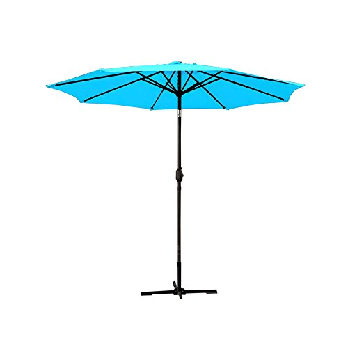 Jeco UBP92-UBF96 Aluminum Patio Market Umbrella Tilt, 9′, Turquoise For Sale