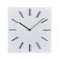 MOTINI 12 Wall Clock Silent Non-Ticking, Quality Quartz Battery Operated Square Clock Decorative Clock for Kitchen, Home, Office (White)