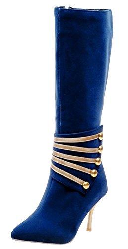 Idifu Damesschitterende Stiletto Puntige Neus Ritssluiting Halfhoge Kuitlaarsjes Halfrijlaarsjes Medium Hakken Blauw