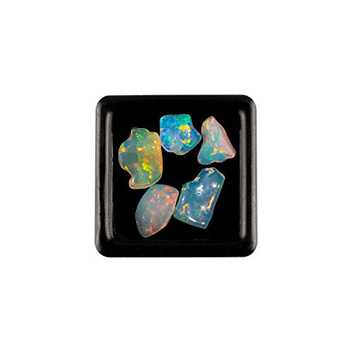Jaguar Gems AAA+ Natural Opal Polished Nuggets Stone, Ethiopian Opal Polished Nuggets, DIY-Jewelry Making, Wire Wrapping, Chakra Healing, Ultra-Fire Striking Gem, Opal Gemstones and Cystals Pack of 5