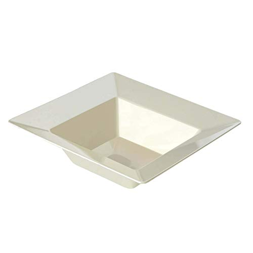 - BalsaCircle 40 pcs 5 oz Ivory Plastic Square Bowls - Disposable Wedding Party Catering Tableware