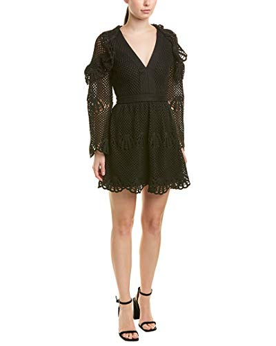 Crochet Portrait - Self Portrait Women's Crochet Mini Dress, Black, 6