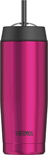 Thermos 16 Ounce Vacuum Insulated Cold Cup with Straw, Pink by Thermos