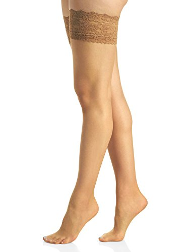 Silky Berkshire Sheer Queen (Berkshire Women's Plus-Size Queen Romantic Lace Top Thigh High 1363, City Beige, Queen 2)