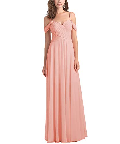 WuliDress Women's Cold Shoulder A Line Pleated Long Bridesmaid Dresses Chiffon Formal Party Gown Peach Size 14 -