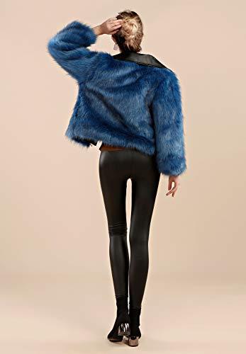 Abrigo Blue Piel De Women Folobe Cálido Invierno Sintética ' xIfZ8
