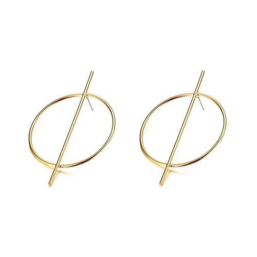 DIDA Geometric Hoop Earrings,Gold Dangle Earrings Circle Ring Links Statement Earrings for Women Suitable for Bars, Parties, Wedding Travel wear (Golden) ()