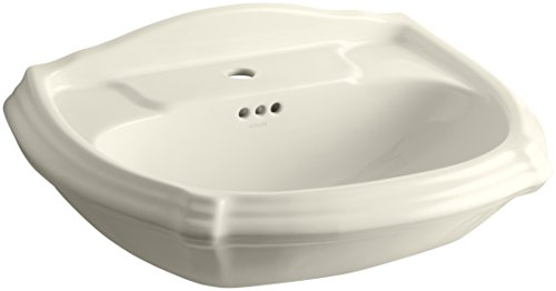 KOHLER K-2222-1-47 Portrait Pedestal Bathroom Sink Basin with Single-Hole Faucet Drilling, Almond