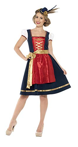 Smiffys Women's Traditional Deluxe Claudia Bavarian Costume, Dress and Apron, Around the World, Serious Fun, Size 6-8, 45263 ()