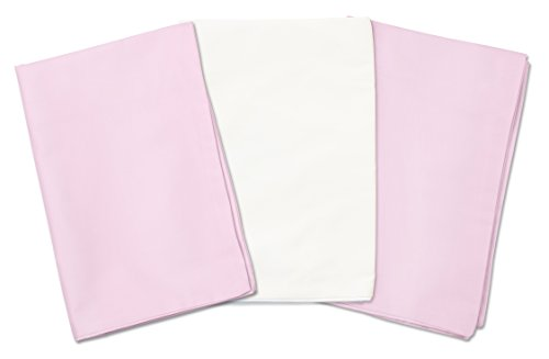 3 Toddler Pillowcases - 2 Pink and 1 White - For Pillows Sized 13x18 and 14x19 - 100% Cotton With Soft Sateen Weave - Envelope Style Closure - Machine Washable