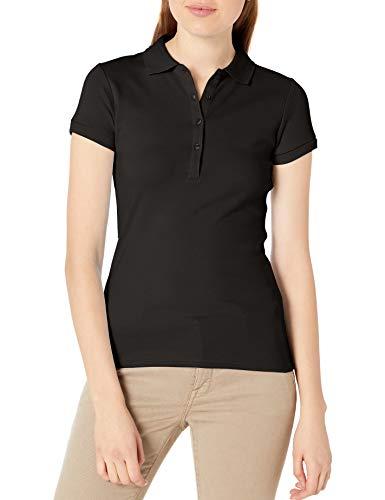 IZOD Junior's Uniform Short Sleeve Interlock Polo, Black, Large