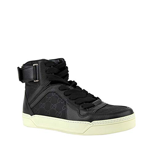 (Gucci Guccissima Pattern Black Leather/Nylon Hi Top Sneaker with Leather Trim 409766 1000 (6.5 G / 7.5 US))