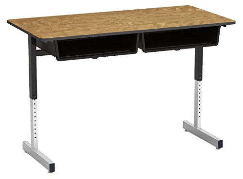 878 Series, Student Desk, Double Open Front Plastic Book Boxes, Seats 2, 24 X 48 Medium Oak Laminate Top with Char Black Edge