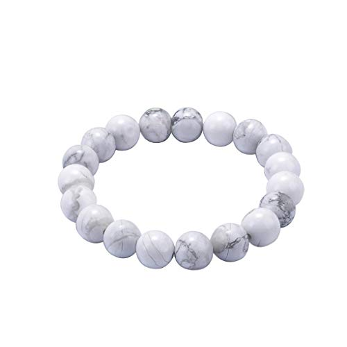 Euone Home, Natural White Pine Stone 8mm Beaded Bracelet for Men and Women