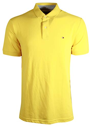 (Tommy Hilfiger Mens Stretch Slim Fit Pique (Small, Yellow))