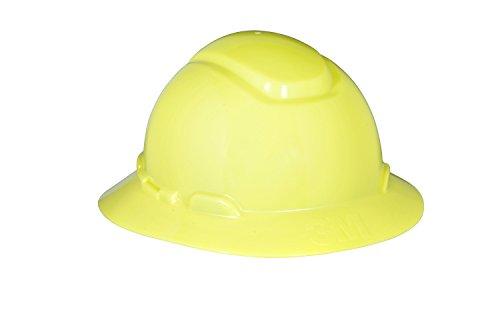 3M Full Brim Hard Hat H-809R, 4-Point Ratchet Suspension, Hi-Vis Yellow Hi Hat System