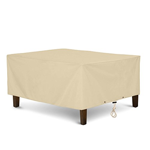 (SunPatio Outdoor Ottoman Cover, Rectangular Coffee Table Cover, Heavy Duty Waterproof Patio Furniture Side Table Cover, All Weather Protection, 40
