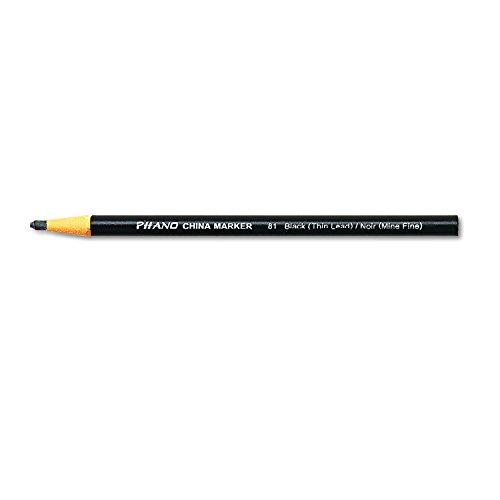 Dixon Phano Peel-Off China Marker Pencils, Thin, Black, 12-Count (00081) (China Marker)