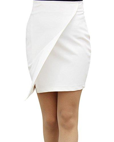 Irrgulier Jupe Crayon Couleur Jupes de Hanche Paquet Unie Blanc Mini Fentes Femme tAHwq1t