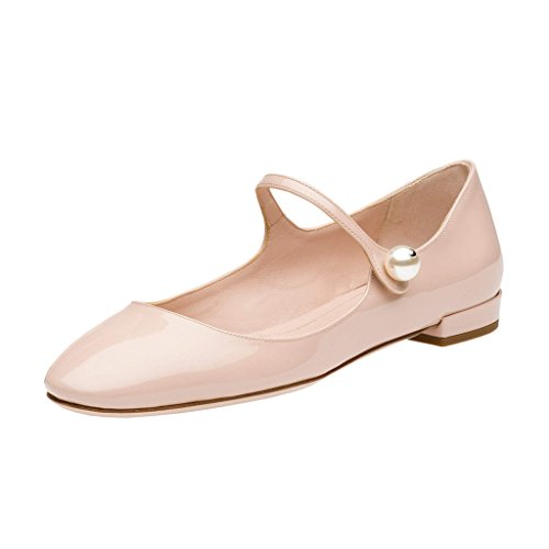 XYD Mary Jane Dress Flats Patent Almond Toe Low Heel Loafers Solid Women Prom Party Shoes Size 12 Nude