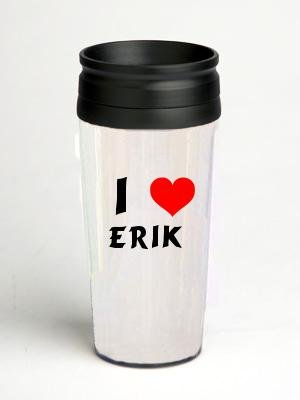 - 16 oz. Double Wall Insulated Tumbler with I Love Erik - Paper Insert (first name/surname/nickname)