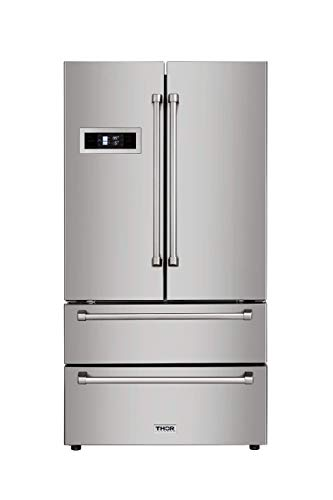 (Thor Kitchen Automatic Ice-maker, 36inch Refrigerator with Counter Depth French Door)