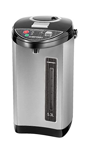 Chefman Instant Electric Hot Water Pot w/ Auto & Manual Dispense Buttons,  Auto-Shutoff, Easy View Water Level, Rotating Base, Safety Lock Prevents Spilling, UL Certified, Stainless Steel, 5.3L/5.6 Qt