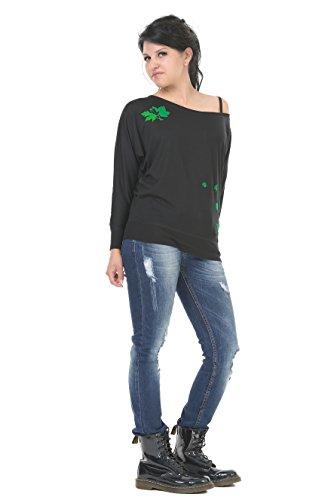 camiseta manga larga / T-Shirt mujer estampa - mágica hoja - 3Elfen negro verde