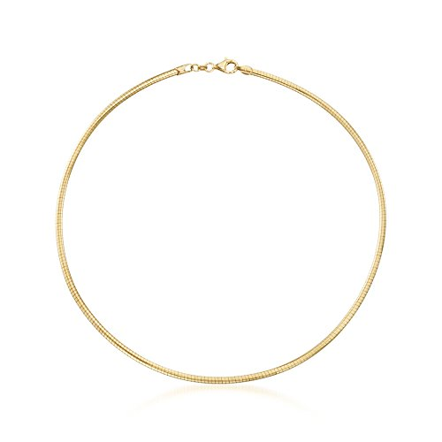 - Ross-Simons Italian 3mm 18kt Yellow Gold Over Sterling Silver Round Omega Necklace