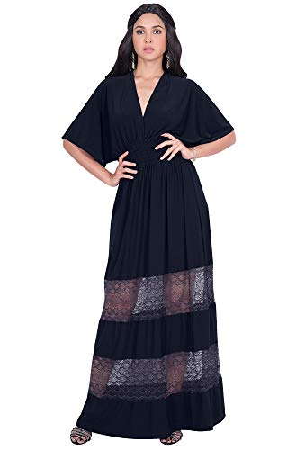 - KOH KOH Plus Size Womens Long Sexy Summer Spring V-Neck Half Short Kimono Sleeve Sundress Lace Flowy Casual Empire Waist Boho Bohemian Tall Beach Elegant Maxi Dress Gown, Dark Navy Blue 2XL 18-20