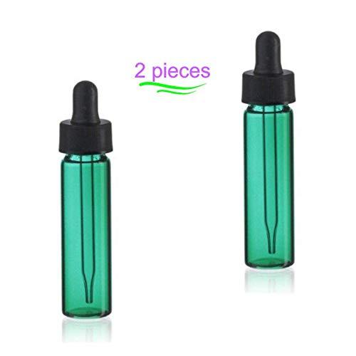 MagnaKoys 2 Dram 1/4 oz Emerald Glass Vials w/Straight Black Bulb Eye Glass Droppers for Essential Oils & Liquids (Pack of 2) ()