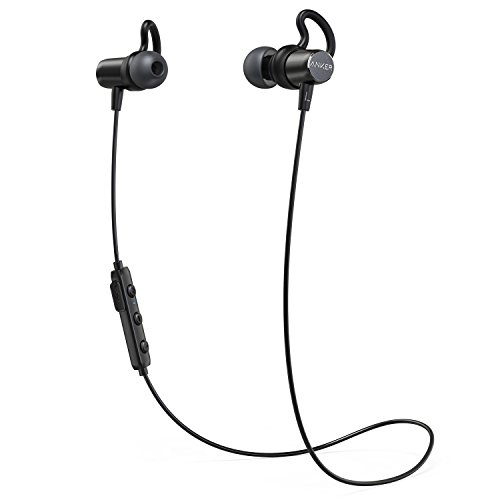Anker SoundBuds Surge Lightweight Wireless Headphones, Bluetooth 4.1 Sports Earphones with Water-Resistant Nano Coating, Running Workout Headset with Magnetic Connector and Carry Pouch (Power Headset Tip Bluetooth)