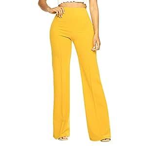 Amazon.com: Pantalones largos para mujer, de cintura alta ...