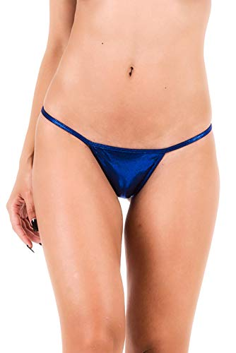 THE MESH KING Coqueta Brazilian Teeny Micro Thong Mini Bikini Swimsuit G String Royal Metallic