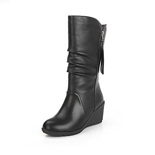 Women Ankle Boots, Xinantime Autumn Winter Ladies Wedges High Heel Zipper Boots Warm Shoes Black