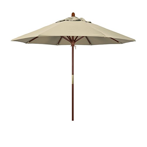California Umbrella 9' Round Hardwood Frame Market Umbrella, Stainless Steel Hardware, Push Open, Sunbrella Antique Beige