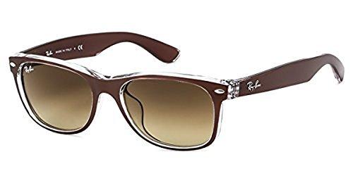Ray-Ban New Wayfarer RB 2132 Sunglasses Top Brushed Brown / Brown Gradient Dark Brown 52mm & HDO Cleaning Carekit - Hdo Sunglasses