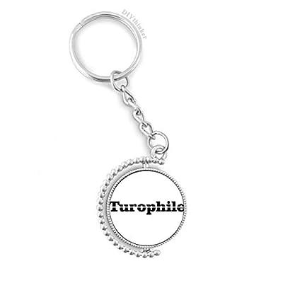 Stylish Word Turophile Rotatable Key Chain Ring Keyholder