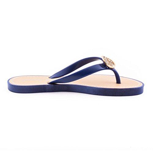 Marimo Trendige Damen Sandalen Slipper Zehentrenner Bade Schuhe mit Strass in Verschiedenen Farben Blau