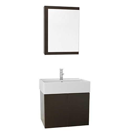 """hot sale Iotti Iotti SM52 Smile Bathroom Vanity with Ceramic Sink and Medicine Cabinet Included, 23"""", Wenge"""
