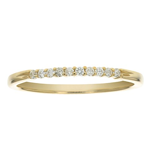 1/10 ctw Petite Diamond Wedding Band in 10K Yellow Gold In Size 6.5 (Prong Diamond Wedding Band)