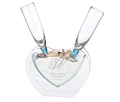 Lillian Rose Toasting Glasses - Lillian Rose Coastal Sand Toasting Glasses with Heart Vase Heart Monogram Personalization