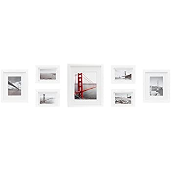 Amazon.com - Frametory, Gallery Wall Frames, Set of 7, White Photo ...