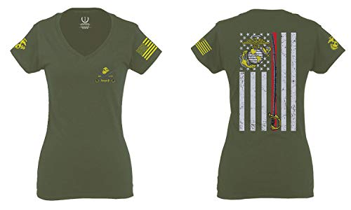 VICES AND VIRTUESS US Marine Corps Support Thin line American Flag USMC for Women V Neck Fitted T Shirt (Olive Medium)