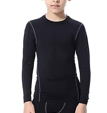 LANBAOSI Boys&Girls Long Sleeve Compression Soccer Practice Shirts 5 Black