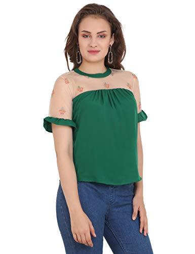 UNFAKENOWCasual Short Sleeve Embroidered Women Dark Green Top