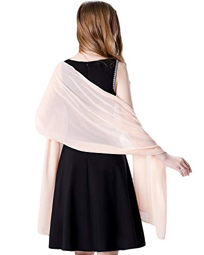 Soft Chiffon Scarve Shawls Wraps for Dresses Women Accessories Peach