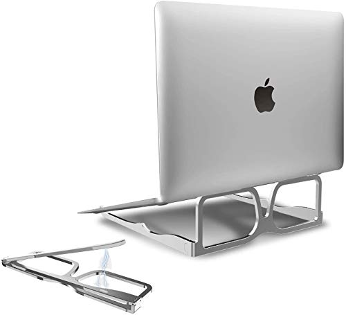 Portable Laptop Stand Foldable,Ergonomic Aluminum Laptop Mount Computer Stand for Desk,Compact Notebook Riser Holder Stand for MacBook Air Pro, Dell XPS, Lenovo More 10-15.6' Laptops - Sliver